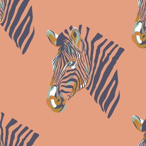 africa africa - zebra head - peach