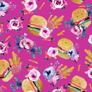 burgers and flowers - pink