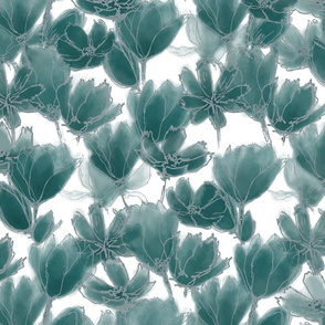 Teal Florals White