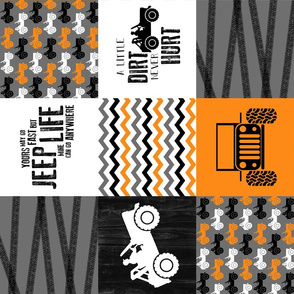 Jeep//A little Dirt Never Hurt//Orange - Wholecloth Cheater Quilt - Rotated