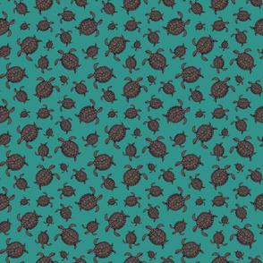 Swimming Sea Turtles - Turquoise