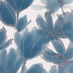 Blue Sapphire Florals Diamond White
