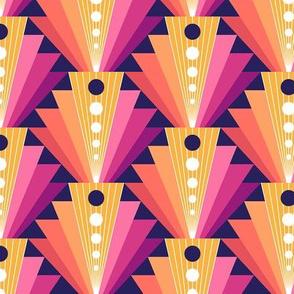 Geometric fan-retro-S-coral/purple/blue