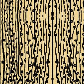 Loopy Black Minimalist Stripes On Gold