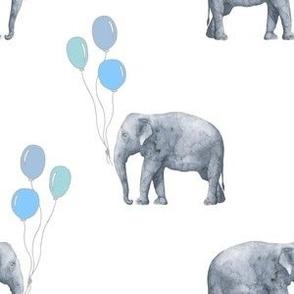 Elephant balloon blue on white baby boy
