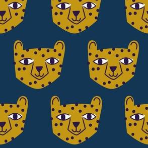 Cheetah Mustard on Blue