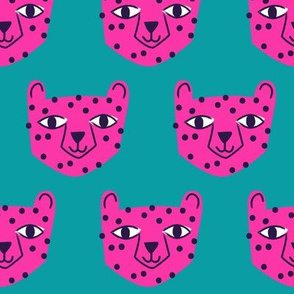 Cheetah Bright Pink on Blue