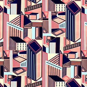 Abstract Minimalism City (Blush & Navy)