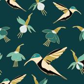 Teal Hummingbird Floral
