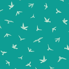 Birds in Flight Teal