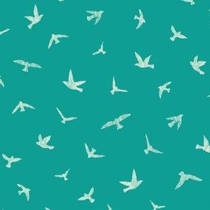 Birds in Flight Teal