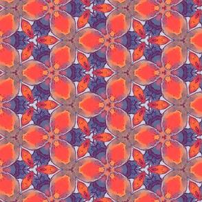 Geometric Orchids | Blue • Red Orange
