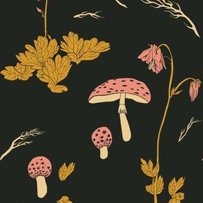 Mushrooms and flowers - black