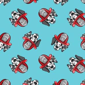 Dalmatian fire dogs   - blue  - LAD19