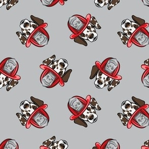 Dalmatian fire dogs (brown)  - grey - LAD19