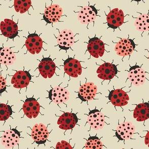 All Over Modern Ladybugs - Cream background