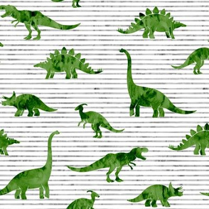 Dinosaurs - Dinos watercolor - green  - LAD19