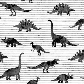 Dinosaurs - Dinos watercolor - dark grey - LAD19