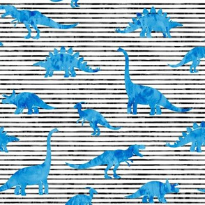 Dinosaurs - Dinos watercolor -  bright blue - LAD19