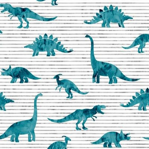 Dinosaurs - Dinos watercolor - teal - LAD19