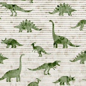 Dinosaurs - Dinos watercolor - sage on beige stripes - LAD19