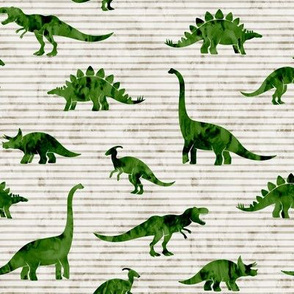 Dinosaurs - Dinos watercolor - dark green green on beige stripes - LAD19