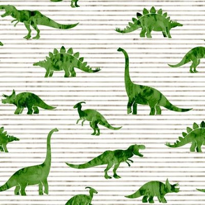 Dinosaurs - Dinos watercolor - green on beige stripes - LAD19