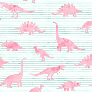 Dinosaurs - Dinos watercolor -  pink on aqua stripes  - LAD19