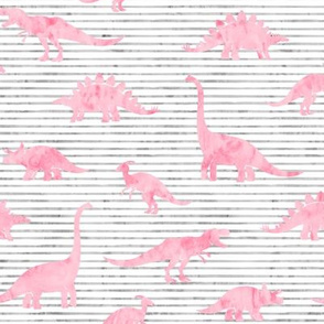 Dinosaurs - Dinos watercolor -  pink on grey stripes  - LAD19