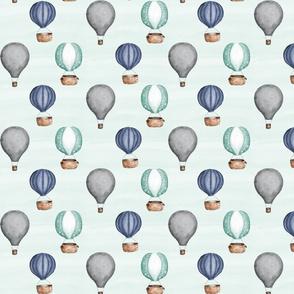 Hot Air Balloons//Blue, Green, Grey - Medium Scale