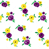 Pansy Patch purple yellow on white
