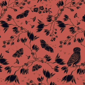 ORCHID OWL BLACK - BURNT SIENNA
