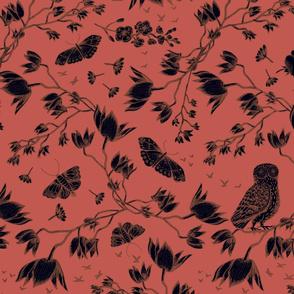 ORCHID OWL BLACK - BURNT SIENNA