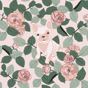 frenchie and roses