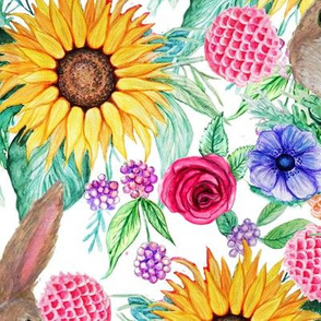 watercolor sunflower, rabbits ,  flowers and berries , large