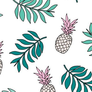 Pineapple paradise island vibes fruit and botanical leaves summer surf green pink LARGE