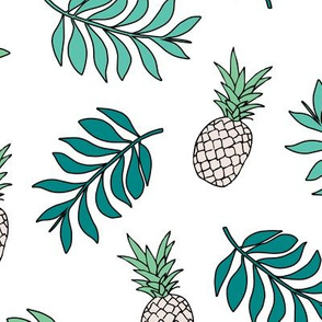 Pineapple paradise island vibes fruit and botanical leaves summer surf green blue JUMBO