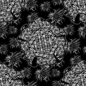 White Black Floral