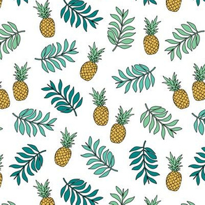 Pineapple paradise island vibes fruit and botanical leaves summer surf green yellow