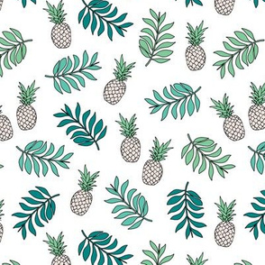 Pineapple paradise island vibes fruit and botanical leaves summer surf green blue