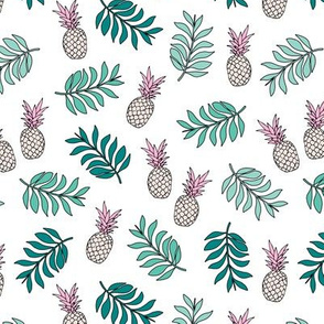 Pineapple paradise island vibes fruit and botanical leaves summer surf green pink