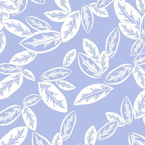 Leaf Garlands White on Chambray 300