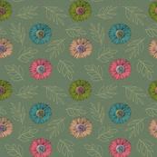 green vintage florals