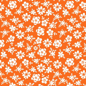 White Floral On Orange