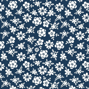 White Floral On Navy Blue