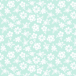 White Floral On Mint Green