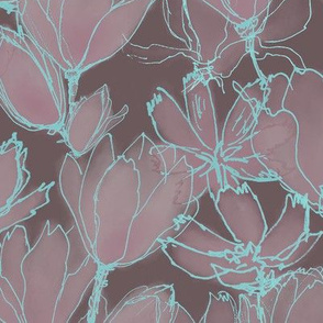 Moody Floral Light Cyan