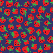 Strawberries - blue background