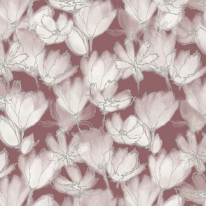 Translucent Florals Warm Red