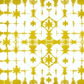 shibori stars n squares yellow grain